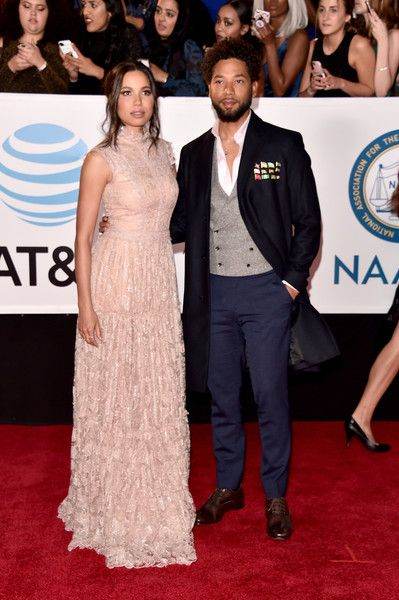 Actress Jurnee Smollett-Bell (L) and Actor Jussie Smollett attend the 49th NAACP Image Awards at Pasadena Civic Auditorium on January 15, 2018 in Pasadena, California. - 49th NAACP Image Awards - Red Carpet