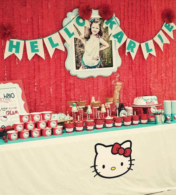 {Red Teal} Hello Kitty Birthday Party // Hostess with the Mostess® Hello kitty theme birthday party ideas and inspiration- invitations, decorations, party favors, dessert table, cake, cupcakes