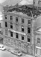 Fire-ravaged Belfast N Ireland HQ of Ulster Unionist Party following Provisional IRA bomb which caused a fire September 1976 | Victor Patterson