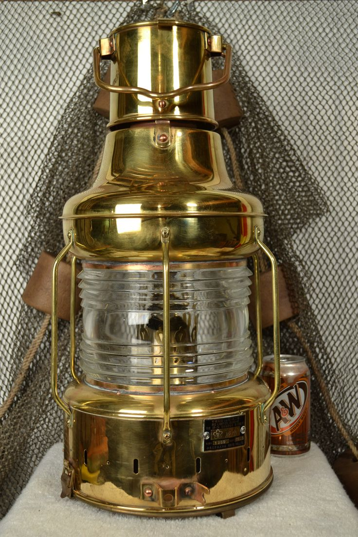 Nippon Sento Brass Ship Lantern With 360 Degree Fresnel