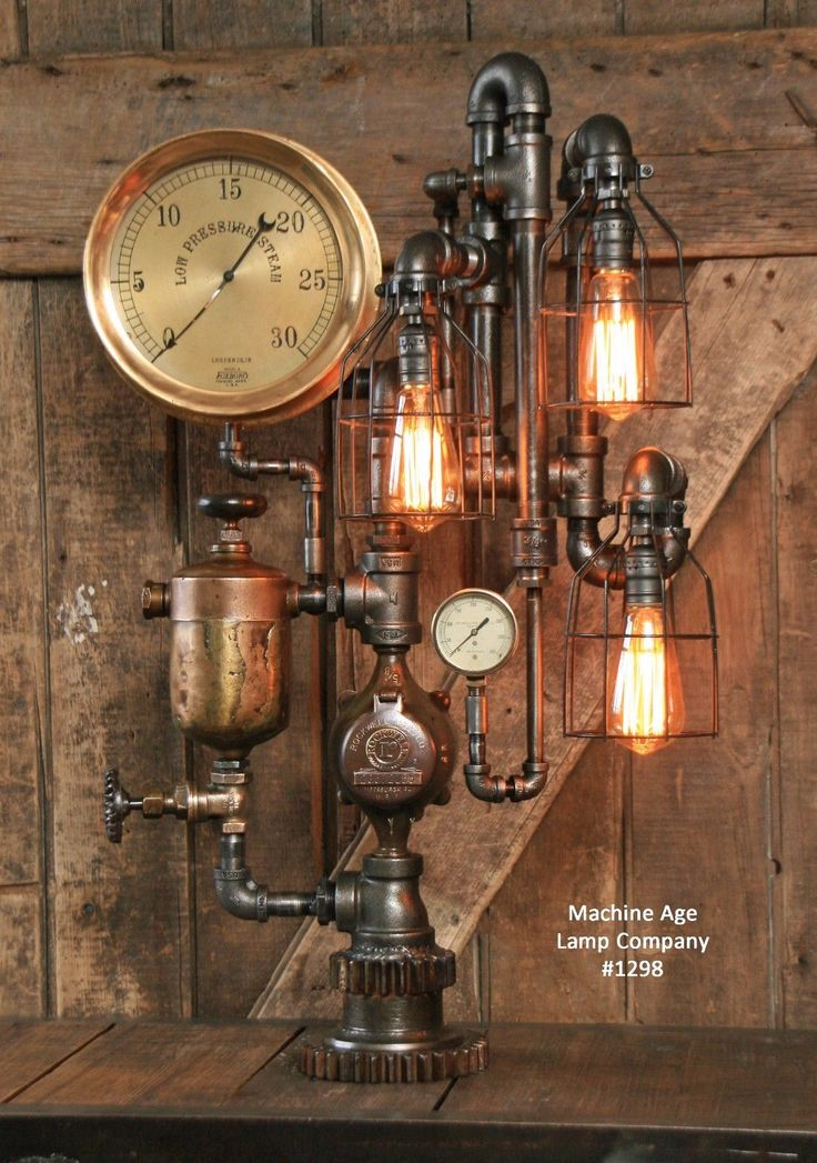 Steampunk steam gauge lamp brass oiler gear pipe - Lampara industrial vintage ...