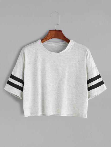 Grey Dropped Shoulder Seam Varsity Striped Crop T-shirt Mobile Site