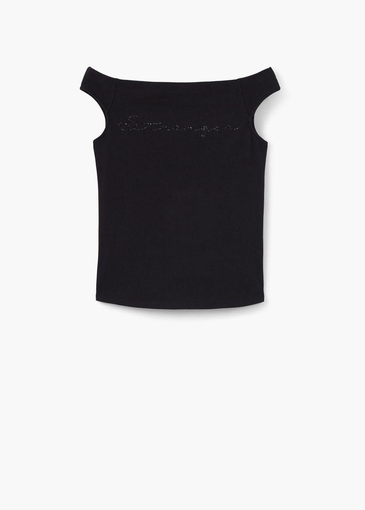 Camiseta estampado purpurina | MANGO