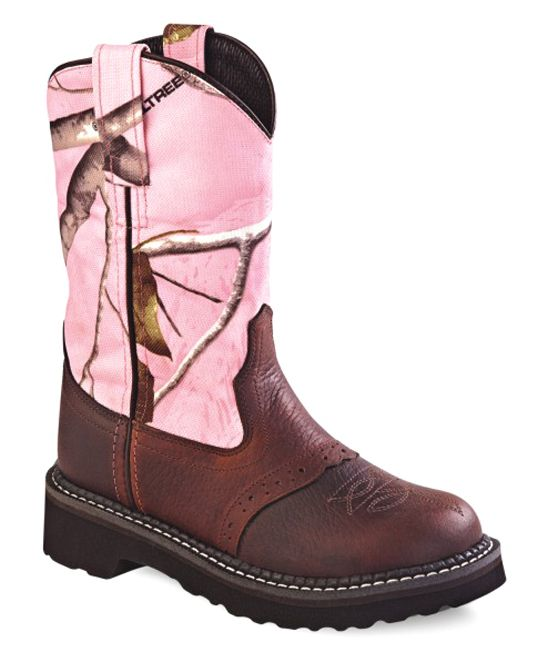 Pink & Brown Camouflage Leather Cowboy Boot - Kids