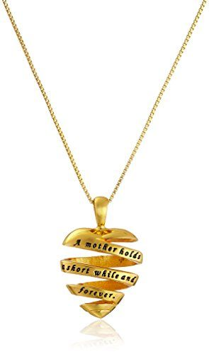 "Sterling Silver with Yellow Gold Flashed ""A Mother Holds A Short While And Forever"" http://amzn.to/2jQysw0 #amazon #jewelry #fashion #necklace"