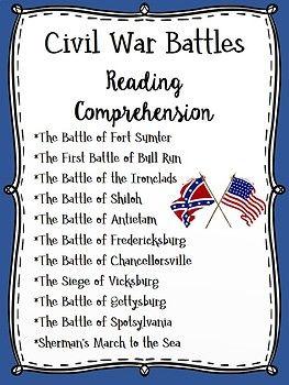 Major Civil War Battles Chart Reading Comprehension Pages U S History