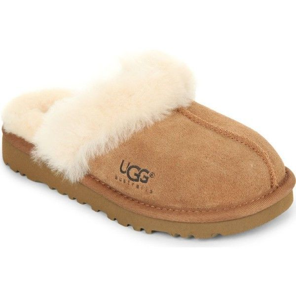 UGG Cozy sheepskin slippers 6-7 years ($64) ❤ liked on Polyvore featuring shoes, slippers and brown