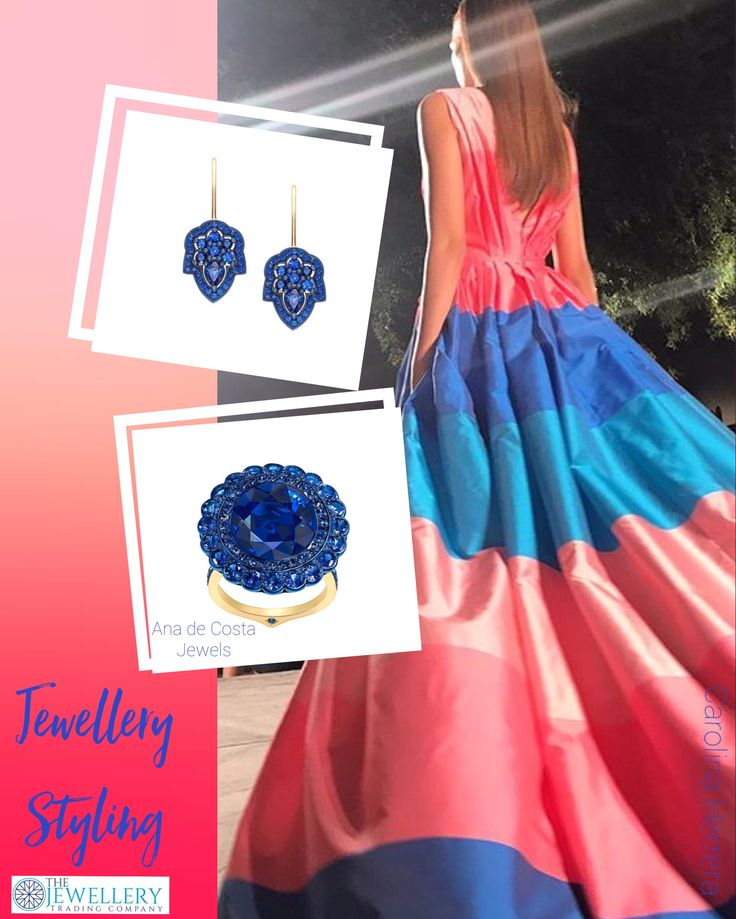 Loving these colours together, corals and blues. This stunning gown by Caroline Herrera @cristinaehrlich looks fabulous with deep blue sapphires. These earrings and ring are by the talented Ana de Costa and work so well with this gown. Jewels available from www.1stdibs.com
