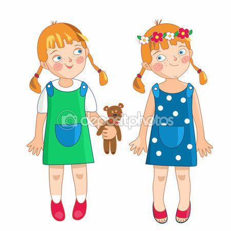 Ewa, mała dziewczynka na wiosnę i lato — Grafika wektorowa © Bridzia #95215708