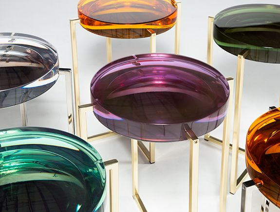 Colorful array of Lens Tables by McCollin Bryan for HOLLY HUNT