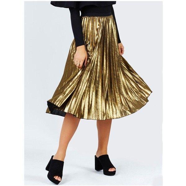 Girls On Film Metallic Pleat Midi Skirt (€33) ❤ liked on Polyvore featuring skirts, mid calf skirts, pleated midi skirt, calf length skirts, metallic midi skirt and metallic skirt