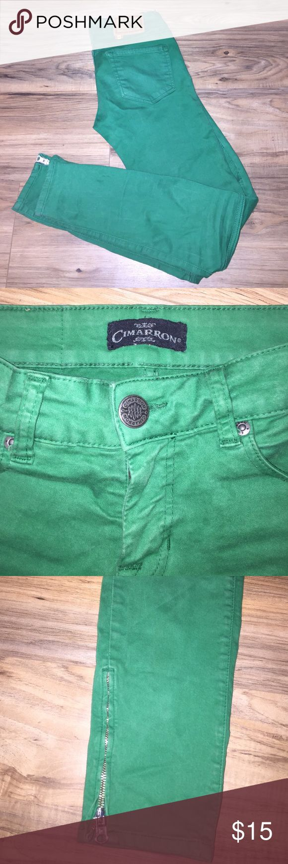 Green Cimarron designer jeans Way cute green Cimarron jeans! Cool trendy patter knee and zipper at the ankle. Great condition. My wonderful hard working mother has made many sacrifices to buy me a ticket to go visit my family that I only see once a year. So I don't make a lot of money but want to be able to get her and the rest of my family quality gifts so the next couple posts will be things that I love and hope you will too. I will happily accept reasonable offers. Wish me luck guys…