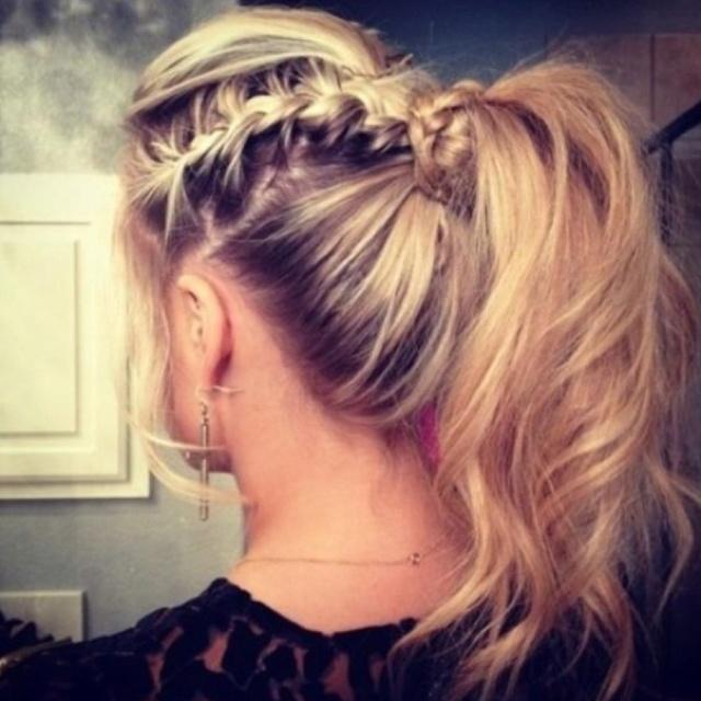 Hair bobble up plait blonde