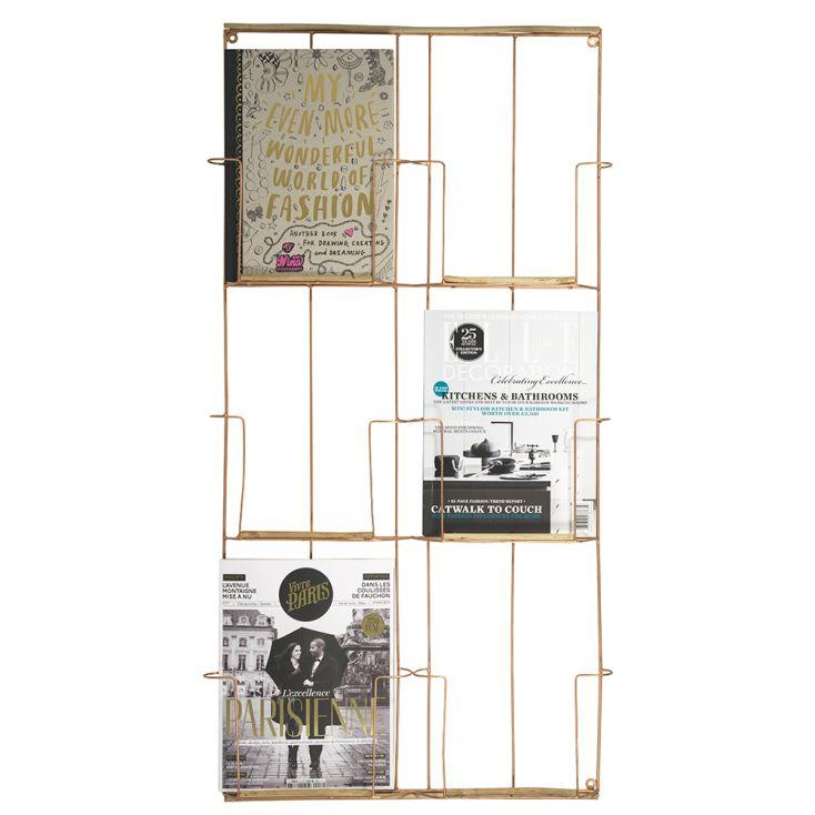 Porte revues mural metal cuivre et bois 97x53x4 cm Madam Stoltz - Howne