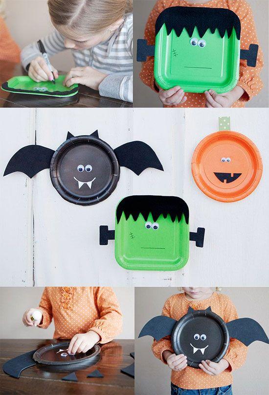 manualidades Halloween platos Manualidades de papel para Halloween