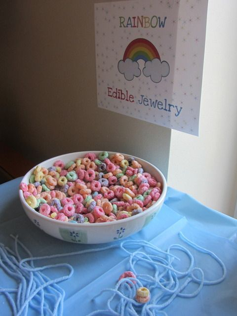 "Photo 20 of 46: Rainbow / Birthday ""Julianne's Rainbow Birthday Party"" Also great activity for toddle fine motor. Use cereal without artificial dyes or preservatives!"