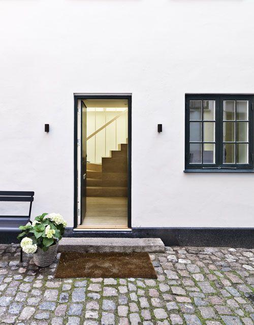 : Exterior, Brick, Front Doors, Outdoor Spaces, Black Trim, Stones, White House