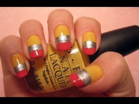 I'm doing these for school :)    Back-To-School Tutorial: Pencil Nail Art