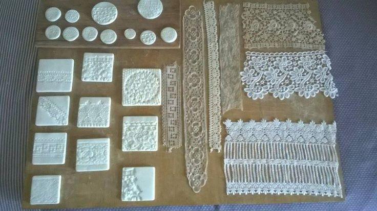 Préparations des moules pour mes dentelles en porcelaine...