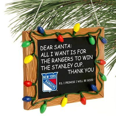 New York Rangers Chalkboard Sign Ornament