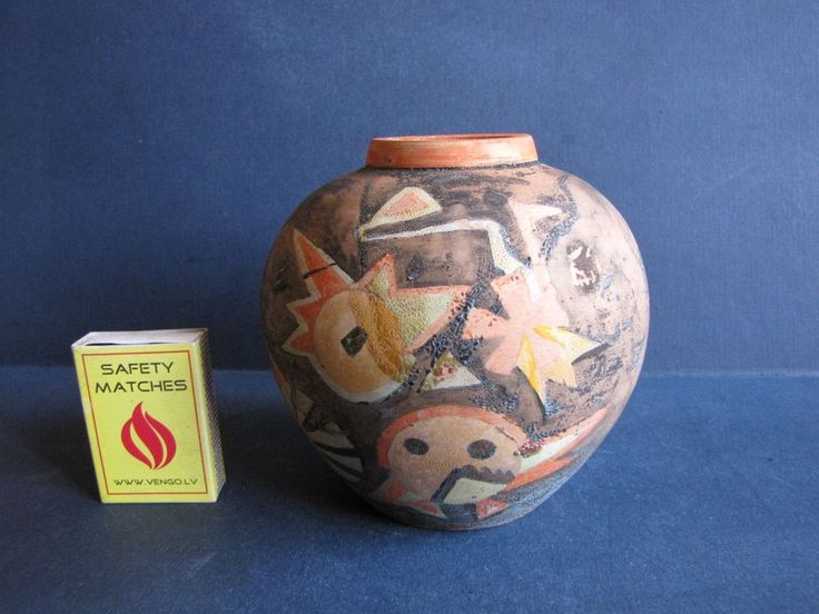 VINTAGE Sweden ceramic Vase handmade painting birds Bertil Vallien  V.B #270
