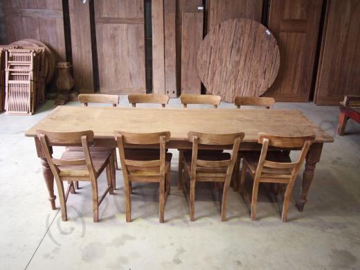 Antieke teak tafel + 8 stoelen afbeelding 5