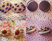Cookie Oreo Jam Tart Ice Cream Sandwich Stud Earrings  Available on Etsy