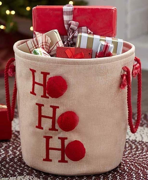 Christmas Storage Bin Basket Tote Gift Holder Ho Ho Ho Holiday Decor