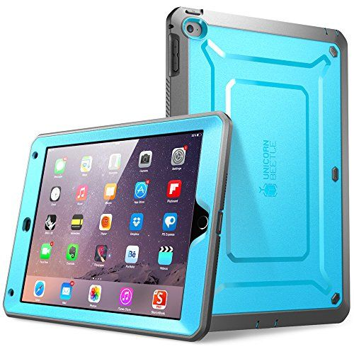 iPad Air 2 Case, SUPCASE [Heavy Duty] Apple iPad Air 2 Case [2nd Generation] 2014 Release [Unicorn Beetle PRO Series] Full-body Rugged Hybrid Protective Case Cover with Built-in Screen Protector, Blue/Black - Dual Layer Design + Impact Resistant Bumper Supcase @@@@@