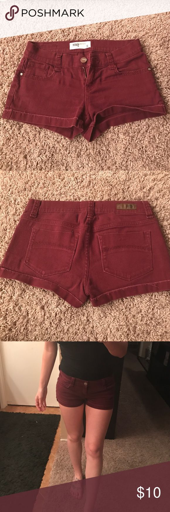 Rsq maroon shorts Size 5-stretchy, and snug. Very comfortable material! Bought one in every color and never had a chance to wear them.. no flaws! Beautiful maroon color Tilly's Shorts