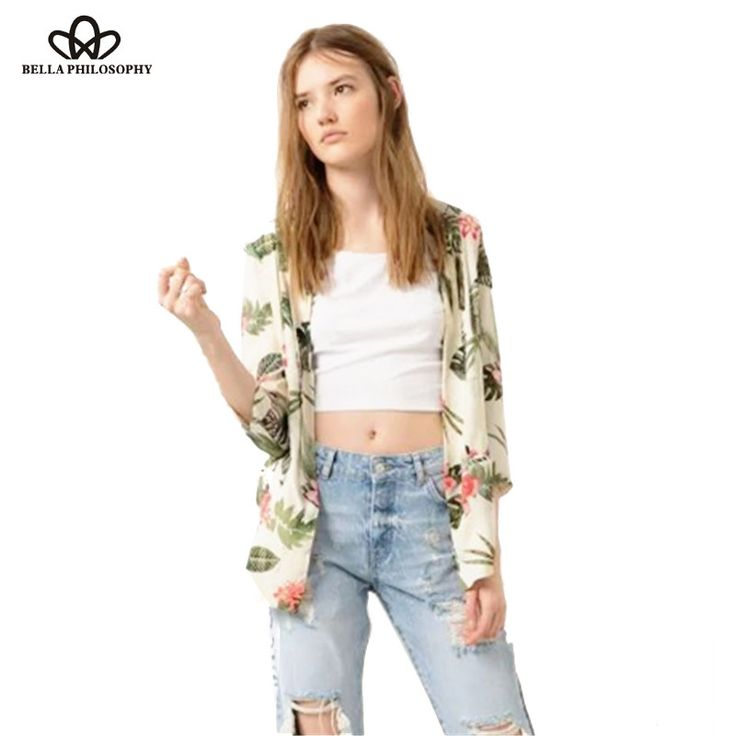 new Spring summer pastoral tropical green and red floral print women kimono jacket