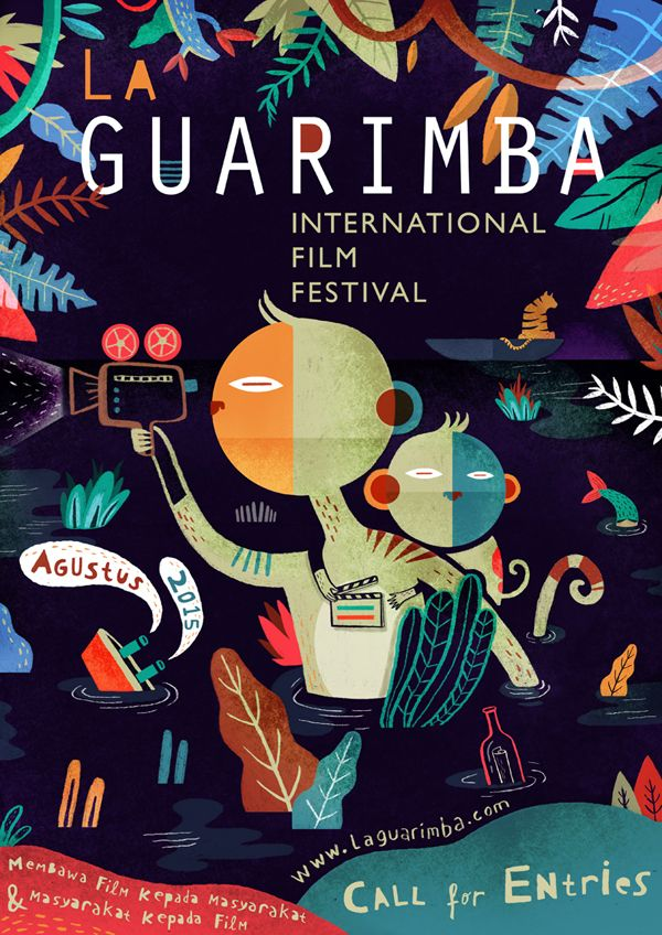 La Guarimba Poster on Behance -- love the dark background with bright colors.