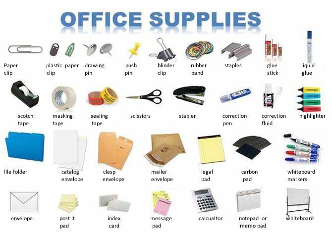 Material de escritório lição Inglês
