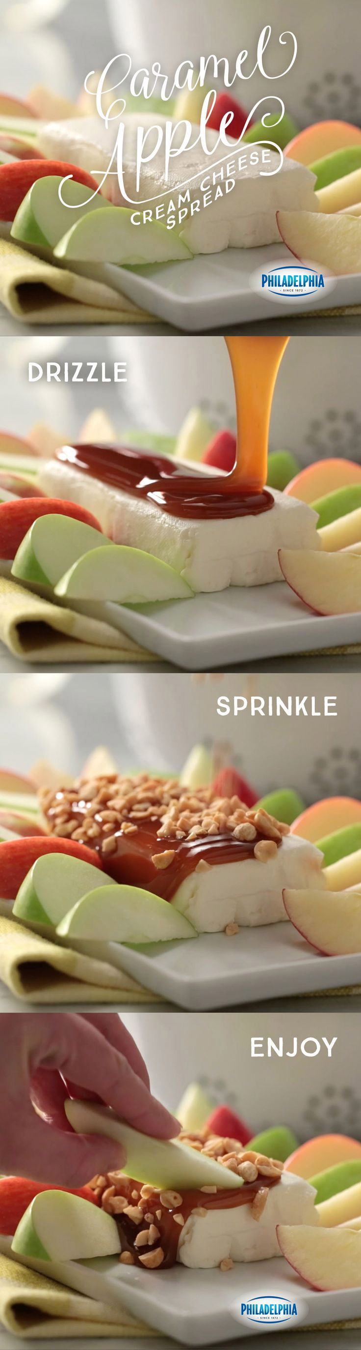 Three ingredients and three minutes is all it takes to make this fall-ready Caramel Apple-Cream Cheese Spread. Made with PHILADELPHIA Cream Cheese, caramel sauce and PLANTERS COCKTAIL Peanuts, then served with sliced apples.