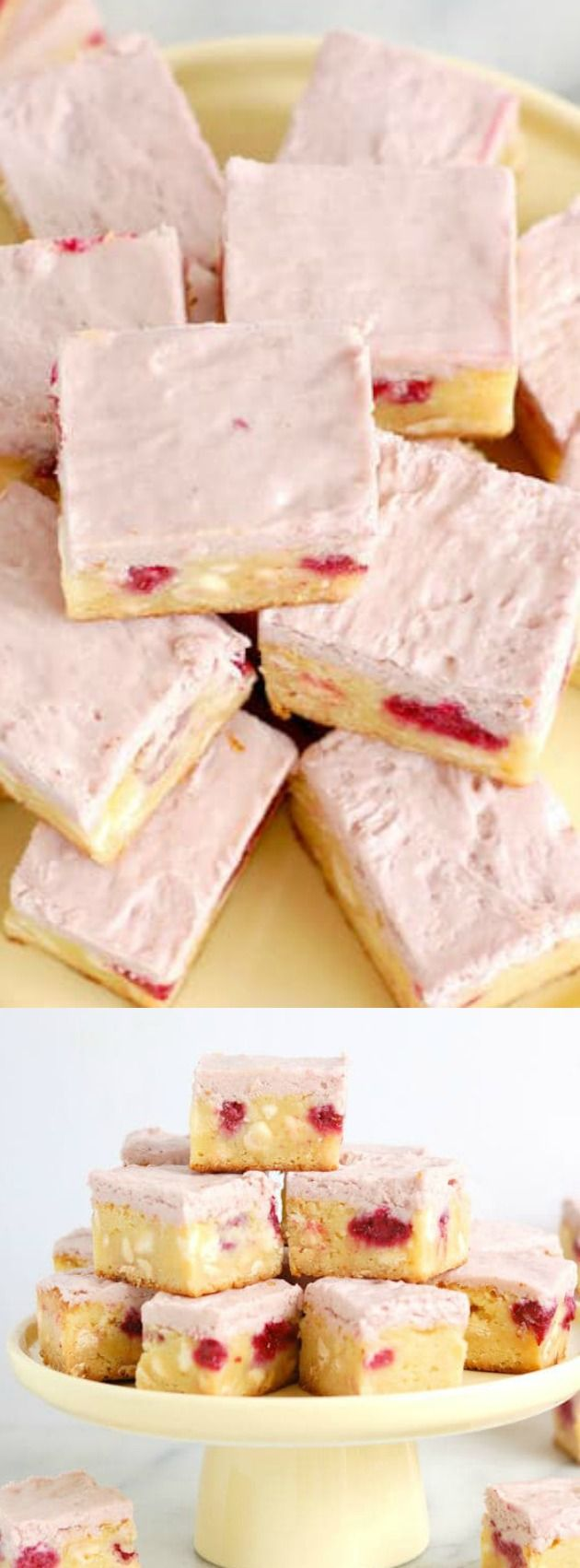 These White Chocolate Brownies with Raspberries from Baking Sense are not your ordinary brownies. They are made with sweet white chocolate, filled with raspberries, and topped with a whipped white chocolate raspberry ganache!