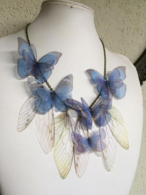 I Will Fly Away Handmade Blue Pale Green and White Silk