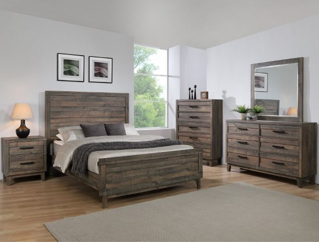 B8280 4 Pc Tacoma Rustic Brown Finish Wood Queen Bedroom Set Bedroom Sets Queen King Size Bedroom Furniture Bedroom Set