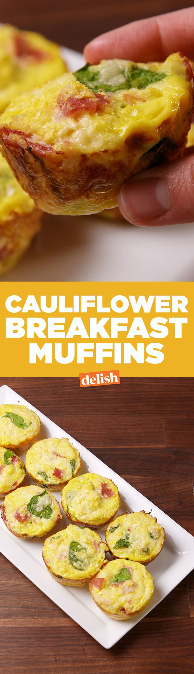 These Cauliflower Breakfast Muffins are the low-carb meal that will keep you full all morning. Get the recipe on Delish.com.