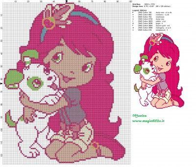 Schema punto croce Fragolina Dolcecuore con cane 100x127 9 colori.jpg