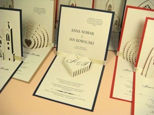 kartka 3d przestrzenna z sercem jotstudio.pl #zaproszeniaślubne