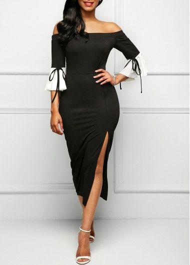 Black Side Slit Flare Sleeve Bardot Dress on sale only US$31.74 now, buy cheap Black Side Slit Flare Sleeve Bardot Dress at Rosewe.com
