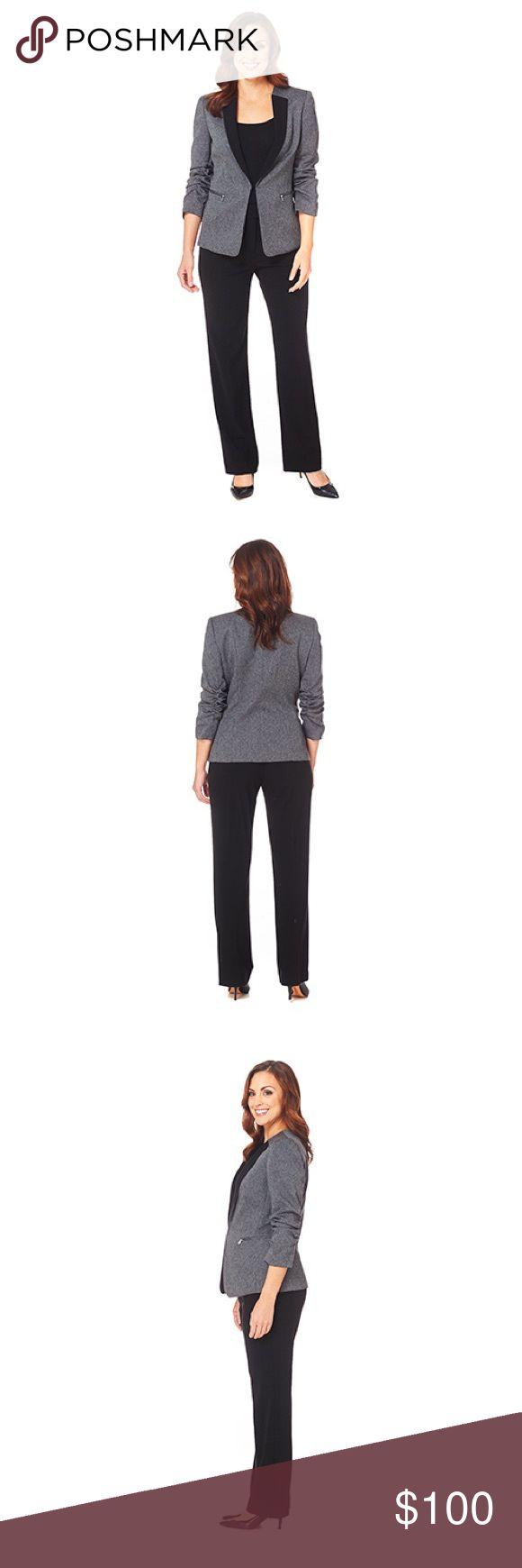 Tahari herringbone jacket and plain paint suit nwt A fully lined herringbone jacket is paired with a pair of monochromatic pants. Contrast trim further enhances the jacket. Dry clean. Imported. Tahari Jackets & Coats Blazers