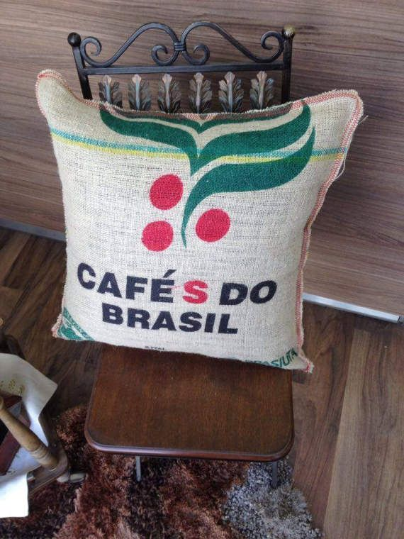 Coffee Burlap pillow case  rustic style pillow cover by Armenos