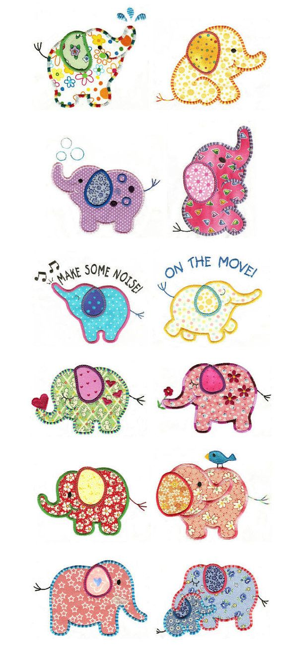 elephants- I want these all over a quilt or something...