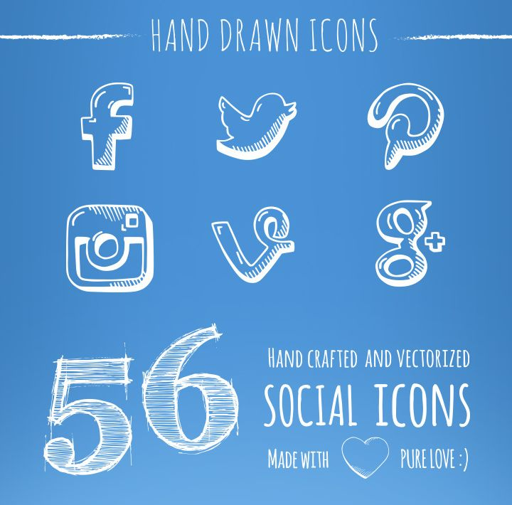 Social Icons - Free Set, #Behance, #deviantART, #Dribbble, #Email, #EPS, #Facebook, #Free, #Google_Plus, #Graphic #Design, #Hand_Drawn, #Icon, #Instagram, #Linkedin, #PDF, #Pinterest, #PNG, #Print, #Resource, #RSS, #Social_Media, #SVG, #Twitter, #YouTube