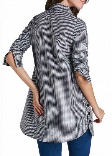 Curved Turndown Collar Button Up Plaid Print Shirt