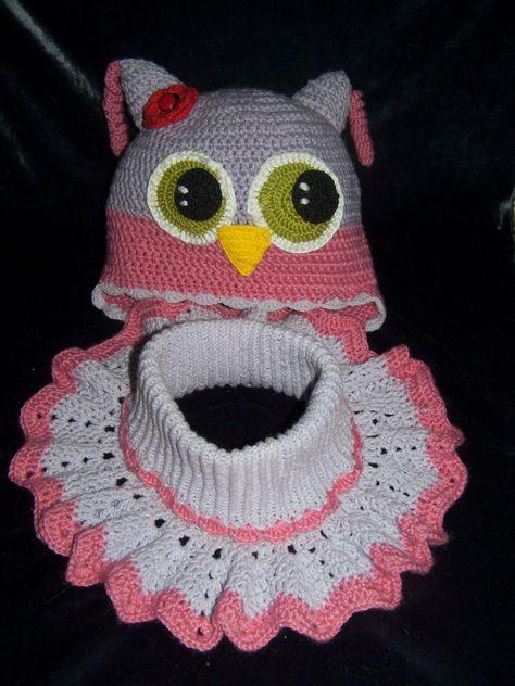 """Комплект """"Сова"""", пряжа Аlise baby wool, YarnArt Jins. Манишку взяла отсюда http://www.stranamam.ru/post/8993838/ #Детская_манишка_крючком, #шапка_с_ушками, #вязание_купить, #ручное_вязание, #вязание_на_заказ, #вязаная_одежда, #вязание_спицы, #handmade, #манишка_крючком, #Детская_шапка_крючком, #шапка_крючок, #шапка_вязать, #сова_крючок, #вязание_крючок"""