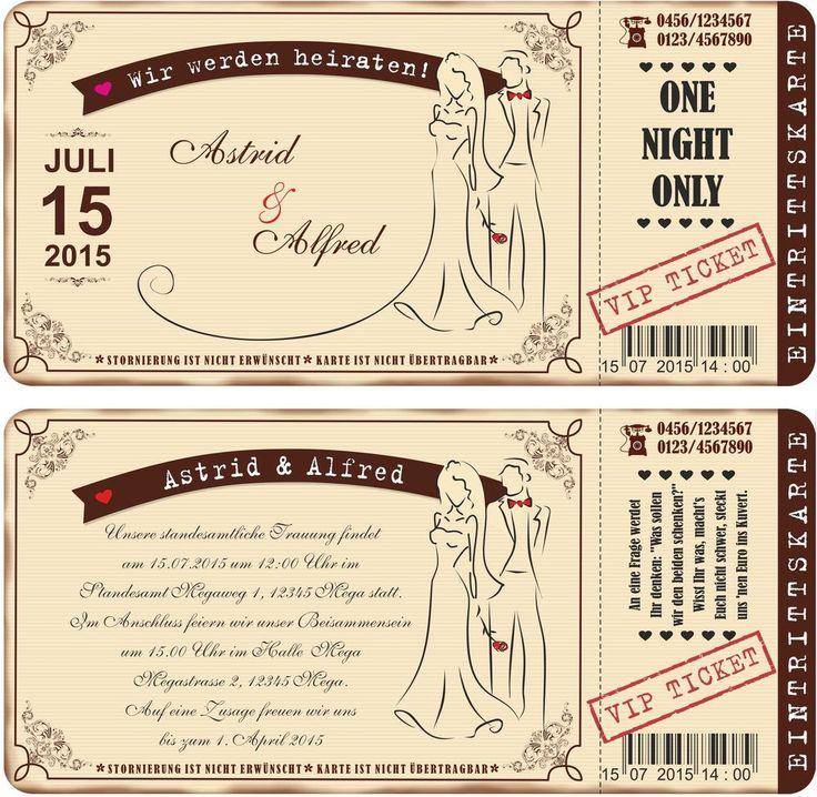 Einladungskarten Zur Hochzeit Vintage Eintrittskarte Ticket Karte