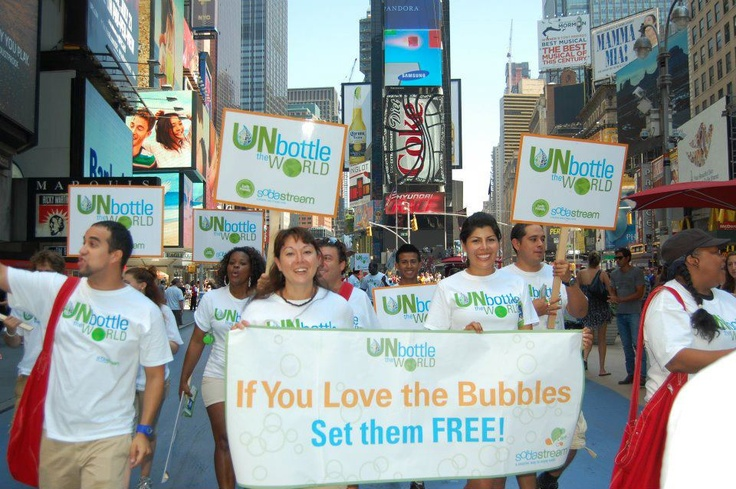 Supporting the cause in Times Square! #UnbottleTheWorld #NYC
