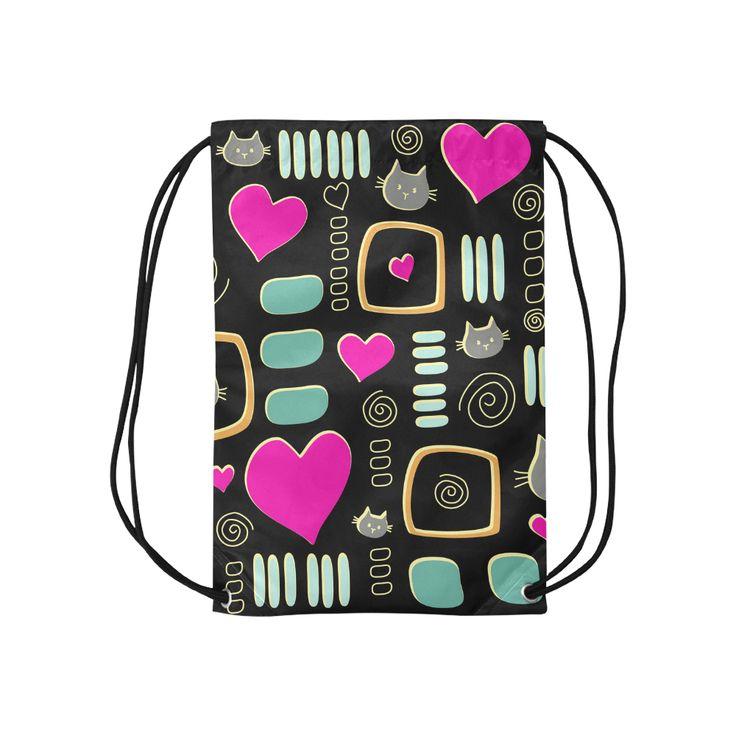 Love Cats Small Drawstring Bag Model 1604 (Twin Sides) 11